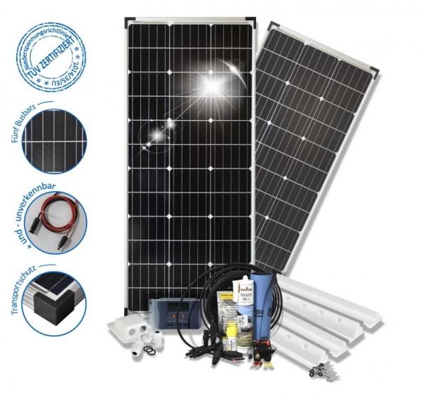 Solarset 200 Watt Basic S für Wohnmobile mit Spoilerprofilen