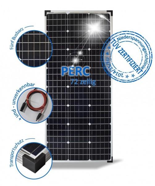 Solarmodul 100W Solarpanel 24V Monokristallin 72 Solarzellen Wohnwagen 4 Busbars PV-100-M-72-S