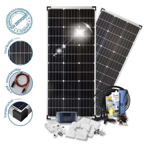 Solarset 200 Watt Basic S für Wohnmobile mit Eckprofilen