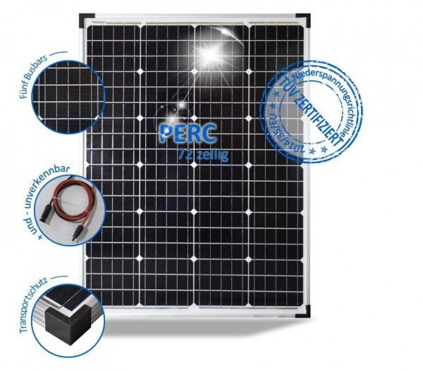 Solarmodul 100W Solarpanel 24V Monokristallin 72 PERC Solarzellen 5 BusBars