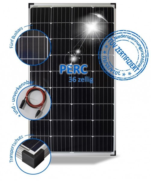 Solarmodul 140W Wohnmobil Solarpanel 12V Mono mit PERC Zellen 5 Busbars