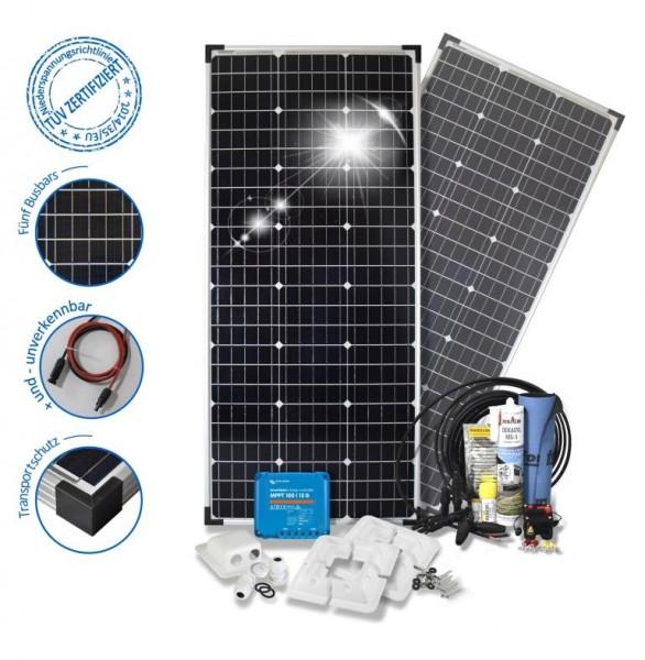 Solaranlage 200W Solarset 200 Watt Premium Wohnmobil mit Eckprofilen Solarmodul