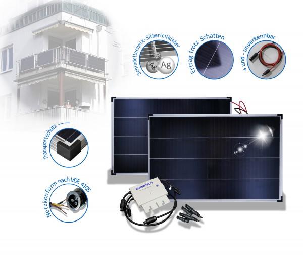 Balkonkraftwerk Mini PV Anlage mit Envertech Inverter und Solarmodul in Schindeltechnik