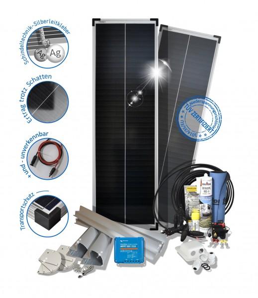 Solarset 160 Watt Premium für Wohnmobile mit Halterungen schwarz weiss ALU
