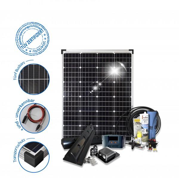 Solarset 100 Watt Komfort S für Wohnmobile mit Eckprofilen