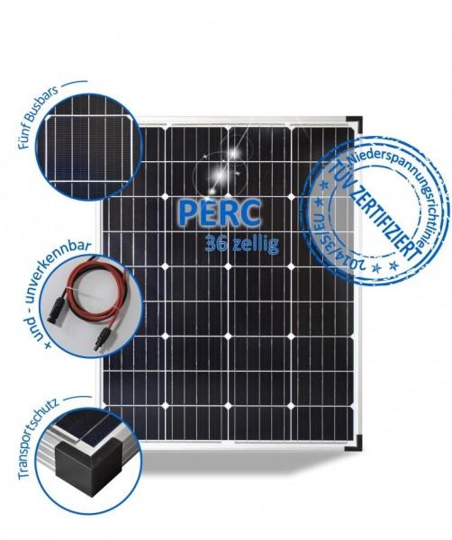 Solarmodul 100W Wohnmobil Solarpanel 12V Mono mit PERC Zellen 5 Busbars