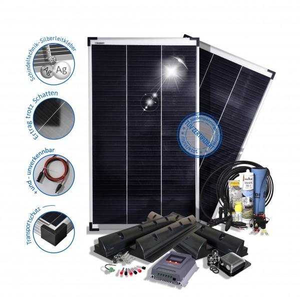 preVent Solaranlage 200W 12V Wohnmobile mit Mppt Laderegler Halterungen - Komfort Edition
