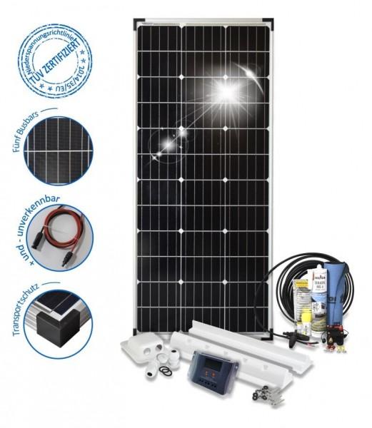 Solaranlage 100 Watt Basic S fürs Wohnmobil mit Spoilerprofilen Solar Set 100W