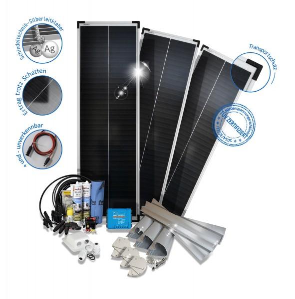 Solarset 240 Watt Premium für Wohnmobile mit Halterungen schwarz weiss ALU