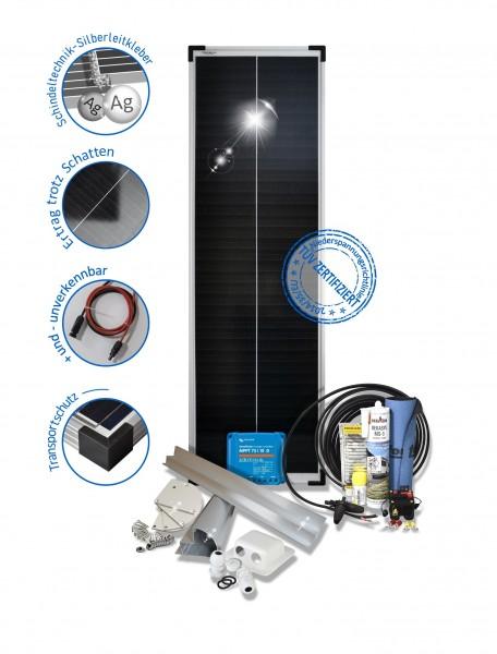 Solarset 80 Watt Premium für Wohnmobile mit Halterungen schwarz weiss ALU