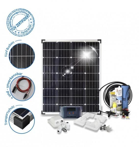 Solarset 100 Watt Basic für Wohnmobile mit Eckprofilen