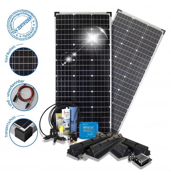 Solaranlage 200W Solarset 200 Watt Premium Wohnmobil Spoilerprofilen PV mono