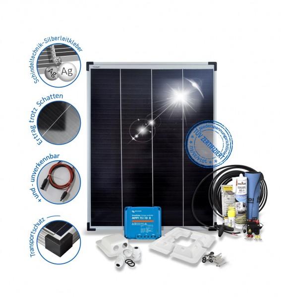 Solarset 100 Watt Premium für Wohnmobile mit Halterungen schwarz weiss ALU