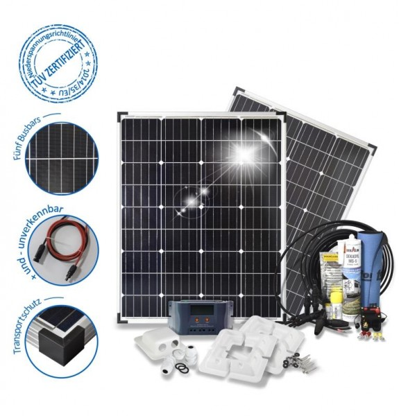 Solarset 200 Watt Basic für Wohnmobile mit Eckprofilen