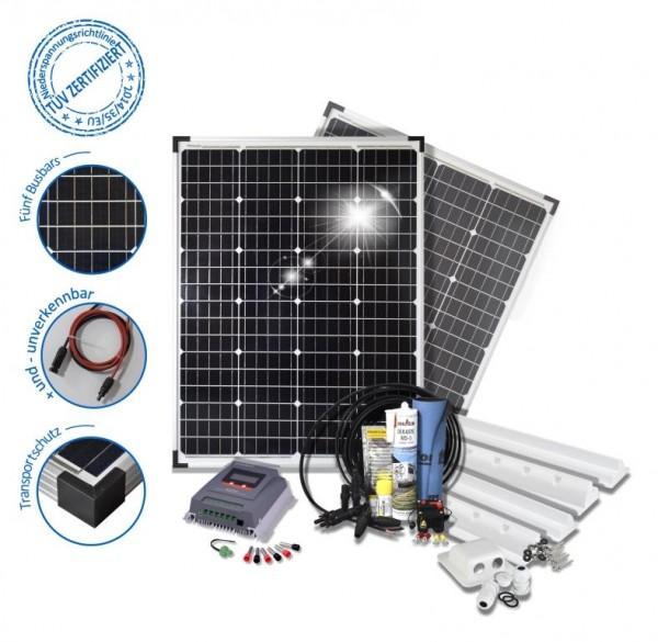 Solarset 200 Watt Komfort für Wohnmobile mit Spoilerprofilen