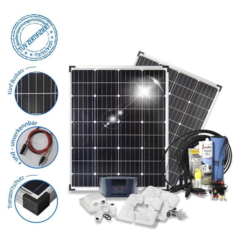 wohnmobil solarset 200 watt basic 12 volt solaranlage. Black Bedroom Furniture Sets. Home Design Ideas
