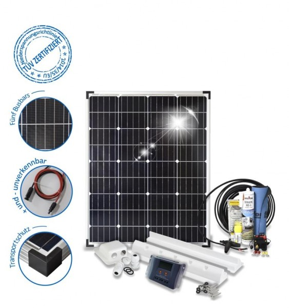 Solaranlage mit 100 W Solarmodul für das Wohnmobil mit Spoilerprofilen