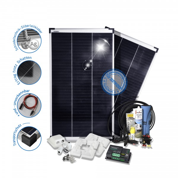 preVent Solarset Solaranlage 200W 12V Camper mit Votronic Mppt Laderegler