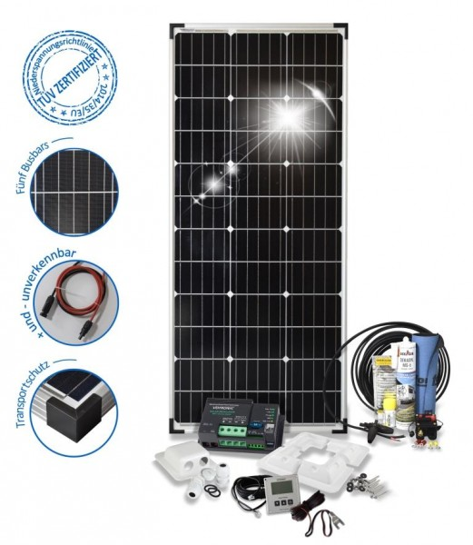 Solarset 100 Watt Camper S für Wohnmobile mit Eckprofile