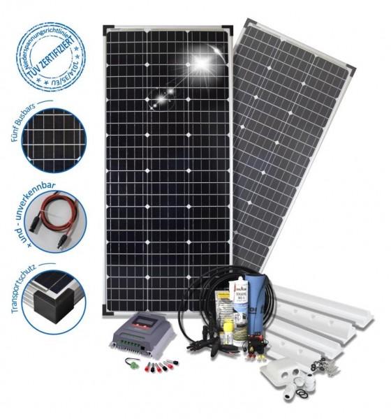 Solarset 200 Watt Komfort S für Wohnmobile mit Spoilerprofilen