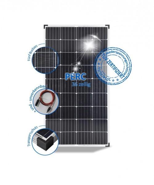 Solarmodul 180W Wohnmobil Solarpanel 12V Mono mit PERC Zellen 5 Busbars