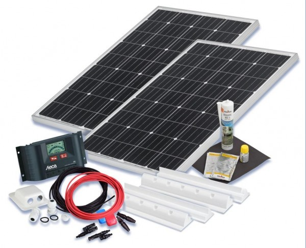 wohnmobil solarset 200 watt komfort 12 volt solaranlage. Black Bedroom Furniture Sets. Home Design Ideas