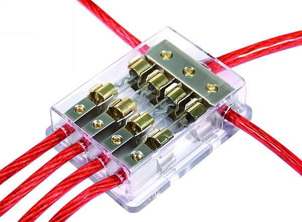 Kabel Sicherungsblock SiHa-44/4-Satin 1xIn, 4xOut, für 4 Sicherungen