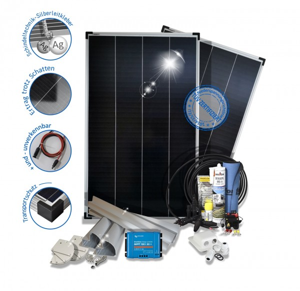2x150W 300W Wohnmobil Solaranlage Premium Monokristallin 12V mit Mppt Laderegler